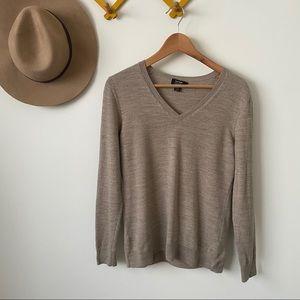 Lord & Taylor   beige v-neck merino wool sweater
